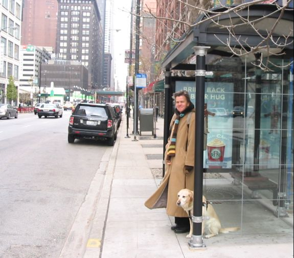 Hanni and me at Chicago bus stop -- on solid ground.