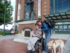 Gus, Hanni and I--in front of the Hank Aaron statue outside Miller Park on a previous visit to Milwaukee.