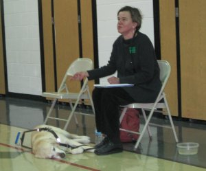 Photo of Beth and her dog at Kipling school.