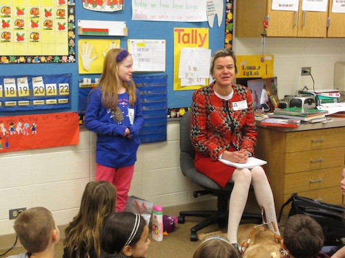 That's Floey helping me  field questions during a visit to her school last year
