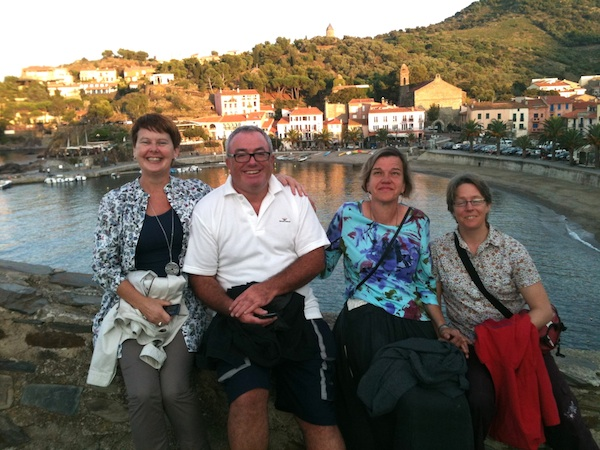 That's wee Sheelagh on the left, then our friend Jim Neill, Beth, and Beni. It was taken in August, 2011 in the picturesque Collioure, France.