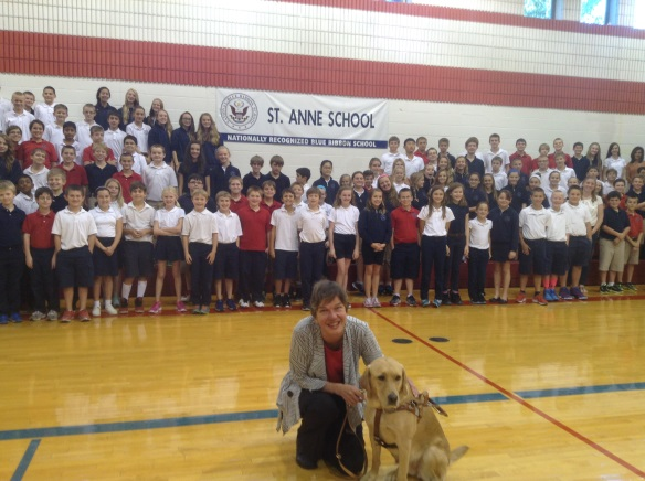Whitney and I spent the whole day at St. Anne's. Here, we're with fifth through eighth graders.
