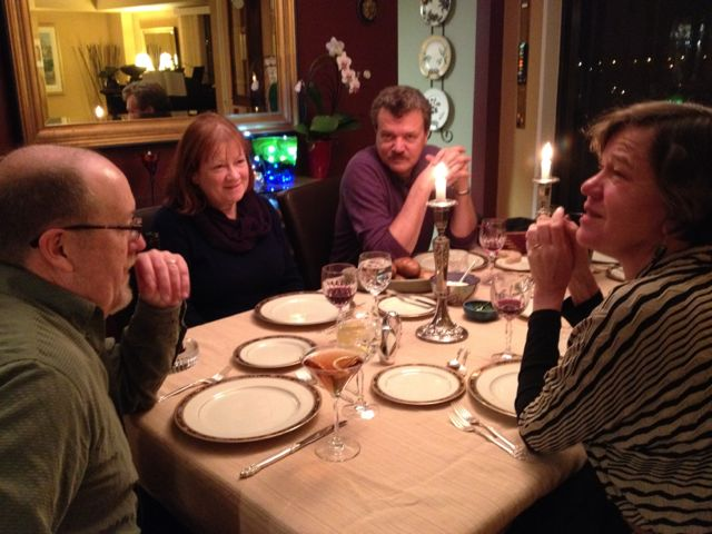 Before the feast: That's Michael and Susie Bowers, Pick, and moi. Hank's in the kitchen....