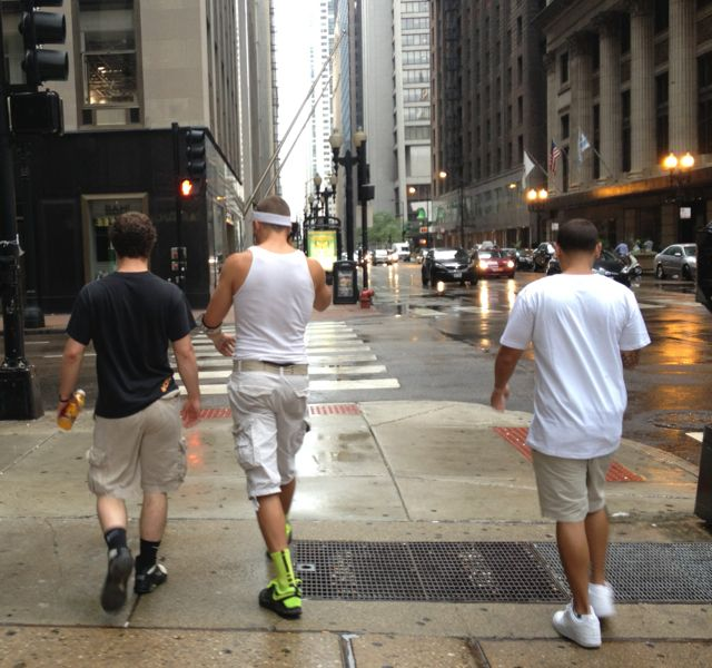"""These three Lolla people had become separated from their pack. As I followed them headed north on Clark, the tall guy screamed into his phone, """"We're headed south on LaSalle."""""""
