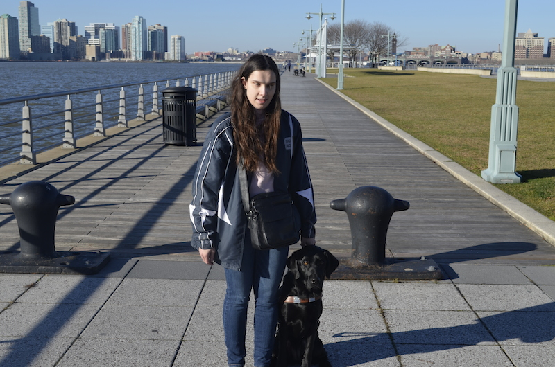 Blogger Blindbeader and guide dog Jenny waiting for a water taxi in NYC.
