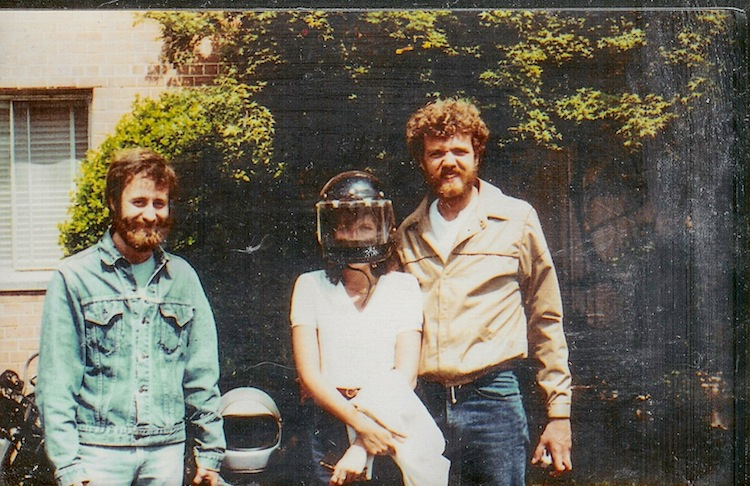 Me, Pick, and a friend incognito under the helmet before a ride, circa 1981.