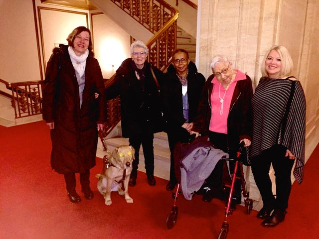 That's Wanda and me with some writers from our class. Wanda refers to her trusty walker as Wilma after track star Wilma Rudolph.