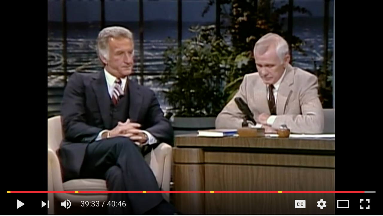 Uecker on Johnny Carson, 1982. He's been a staple of late night.