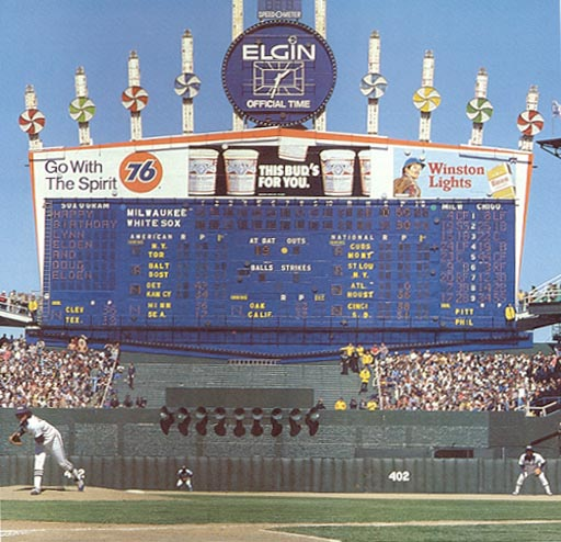 The exploding scoreboard was a big deal at Comiskey.