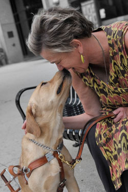 Blind author Beth Finke and her Seeing Eye dog Whitney face to face