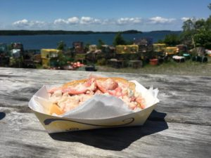 Delicious lobster roll on a rustic tabletop with Maine shoreline in the distance, photo by Mike Knezovich