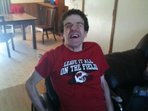 Photo of Gus in his Badgers t-shirt.