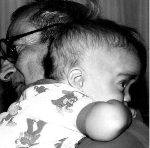 Photo of Mike's dad with his grandson Gu.