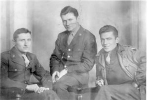 Photo of Mike's dad and Mike's uncles, in uniform, during WWII.