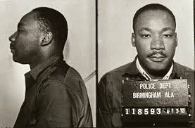 Photo of Dr. King's mug shot when he was jailed in Birmingham.